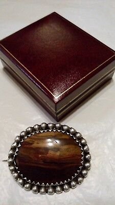 Antique Handmade STERLING SILVER Victorian PICTURE JASPER Oval Brooch in Box****