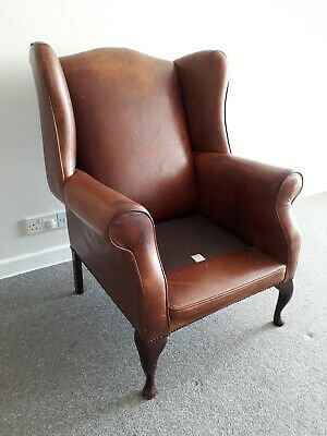 Laura Ashley Denbigh Brown Tan Leather Wing Back Chair Queen Anne Chesterfield