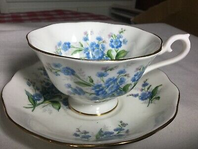 Royal Albert Bone China  Cup And Saucer England      Forget-Me-Not Pattern