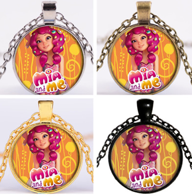 mia and me figure Necklace Dome Pendant Cabochon Glass Necklace UK
