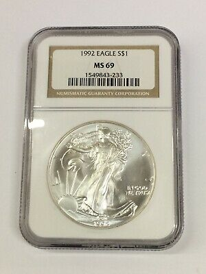 1992 $1 Silver American Eagle NGC MS69 Brown Label