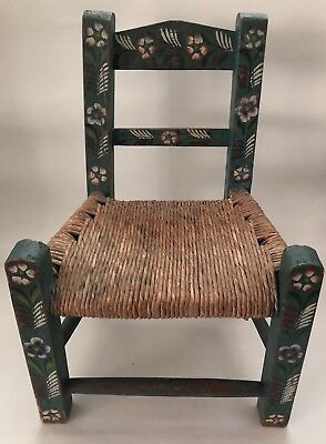 Antique Child's Doll Wooden Painted Cane Seat Chair