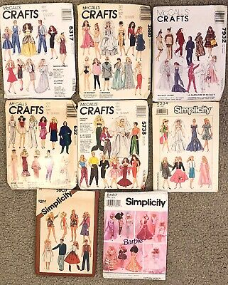 "Vintage 1980' 1990's Simplicity McCall's Sewing Patterns Barbie 11.5"" dolls Lot"