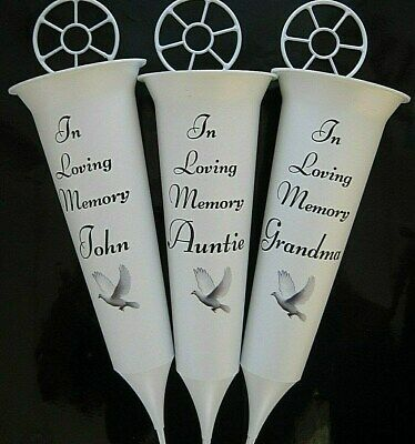 IN LOVING MEMORY  ANY NAME Memorial Grave Flower Spike Graveside Vase Dove