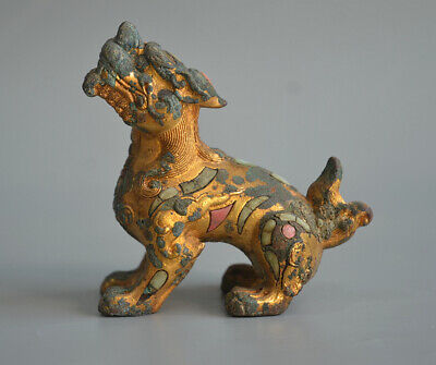 Unusual Chinese Ancient Gold Plated Bronze Lion Inlaid Turquoise Statue Talisman