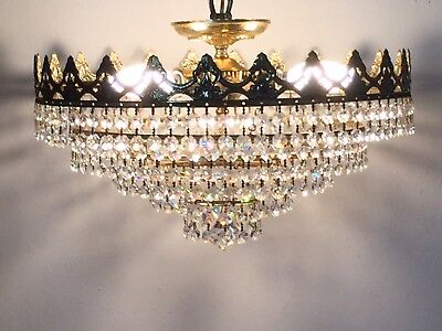 Antique Crystal Chandelier, Brass/Crystal, 39cm, Stunning 5 Tiers/French/Spanish