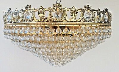 Crystal Brass Chandelier,  8 Tiers, Antique/French/Spanish, 41cm, Rare. (123)