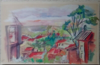 Vintage Abstract Painting Village Scene - 1950'S -1960'S  -Signed Corkal?