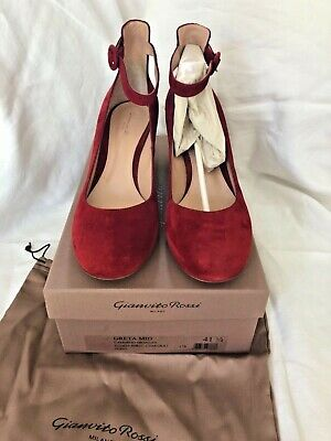 0d3bb398355 GIANVITO ROSSI RED Suede Mid Heel Pumps Ankle Strap, IT 41.5 fits 41 or 40.5