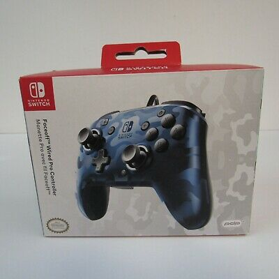 PDP Faceoff Wired Stealth Blue Camo Pro Controller For The Nintendo Switch NEW