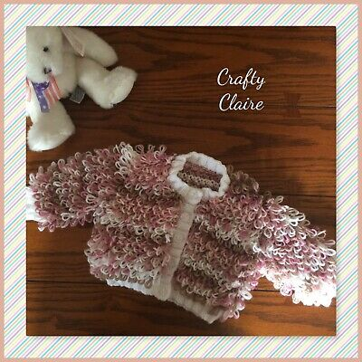 Hand knitted Baby LOOPY Cardigan - Coat - 0-6  - Browns Cream Pinks Colours
