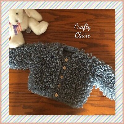 Hand knitted Baby LOOPY Cardigan - Coat - 0-6 and 6-12 Mths - Blue Colour