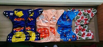 Alva baby cloth diapers - fall/winter Holiday lot - 6 diapers