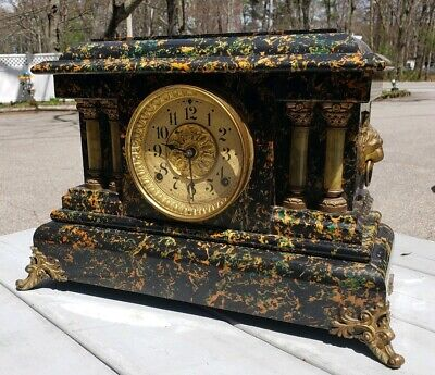 Antique Adamantine Seth Thomas Mantle Clock Running Orange & Green