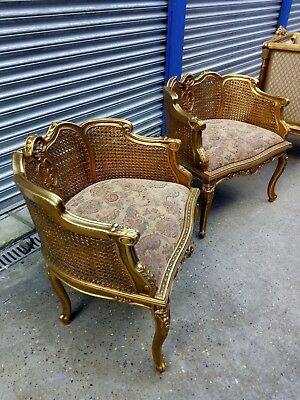 LOUIS XV STYLE FRENCH CARVED GOLD GILTED, RATTAN. SIDE  CHAIRS. X 2. Delivery
