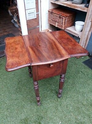 ANTIQUE BURR WALNUT SEWING DROP LEAF TABLE, Drawers.Delivery