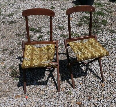 Vintage Antique Wooden funeral gravesite Folding Chairs Set of 2
