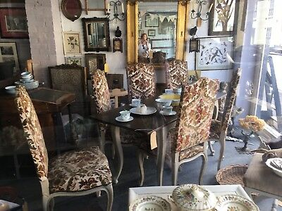 Six Antique Vintage French dining Chairs Fabric wood
