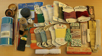 Sewing Candlewicking & Mending Yarn, Knitting, Zipper, Lace Trim, Tulle LOT