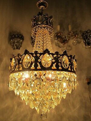 Antique French Chrubs Gold Pltd Massive Brass & Crystal Chandelier 1940's RARE