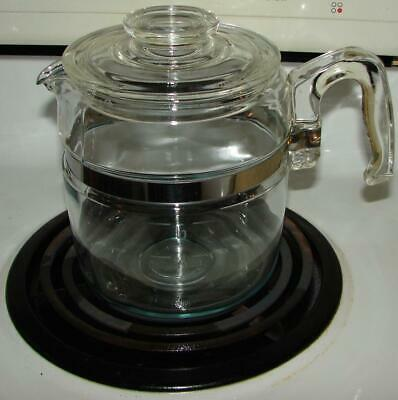 VTG Pyrex Flame 6 Cup Stovetop Percolator Coffee No Basket Pot And Cover Only