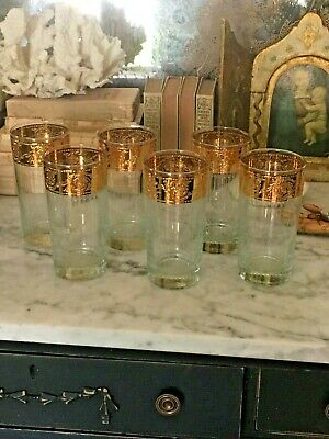 Set of 6 Vintage Mid Century Retro Gold Clear Drinking Glasses barware