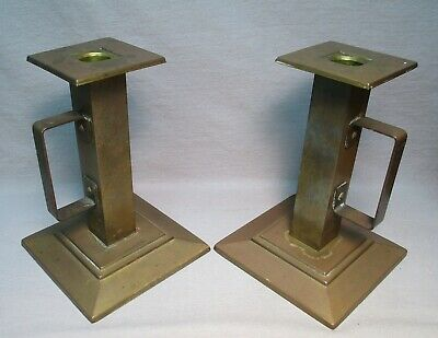 Pair Antique Bradley & Hubbard Mission/Arts & Crafts Brass Candleholders