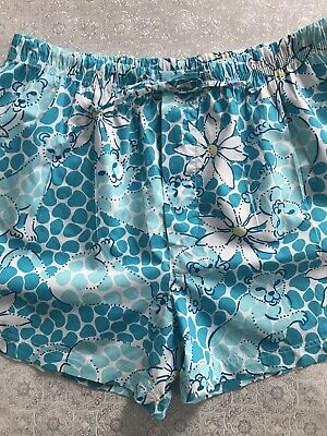 3e78af91c56ee5 Lilly Pulitzer PJ Short Large Aqua Leopard Drawstring Button Fly Sleep  Pajama