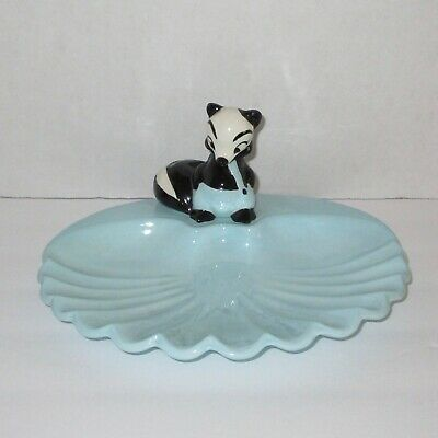 Skunk dish candy trinket 1950s dated hand painted figural kitsch vintage blue