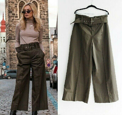 Zara Green Khaki Cropped Wide Leg Trousers Culottes Pants With Belt S M L