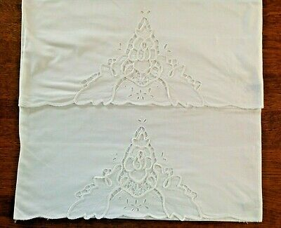 """Pair Set of 2 Embroidered Battenburg Lace King Size Pillowcases 20""""x37"""" Cotton"""