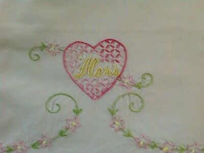 """Pair Set of 2 Embroidered His Hers Hearts Pillowcases 20""""x30"""" Cotton Percale"""
