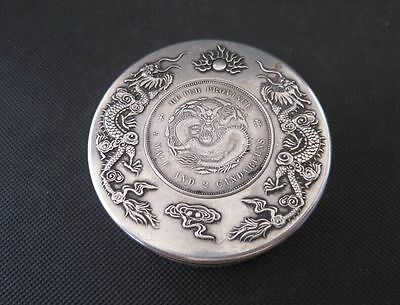 75MM Da Qing Marked Old Chinese Silver Dynasty Dragon One Dollar Coin ink Box