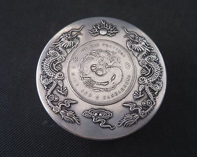 7.5CM Da Qing Marked Old Chinese Silver Dynasty Dragon One Dollar Coin ink Box