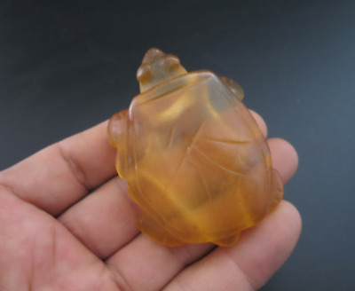 Antique China Hongshan Culture Old Crystal Hand-Carved tortoise Pendant M072