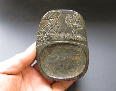 Old China,noble collection, jade,manual sculpture,Lotus bird,ink stone M162