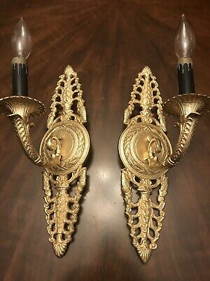 "pair of 2 antique Victorian ornate brass electric wall sconces 1 Lights 14,5""H"