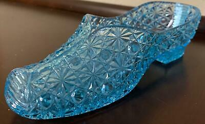 Daisy & Button Slipper Shoe Blue Glass Bryce Brothers EAPG Antique Large 1886