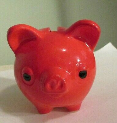 Vintage Small Ceramic RED Pig Piggy Bank Japan?