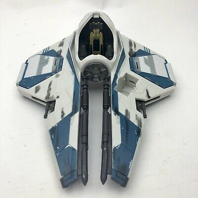Star Wars Obi-Wan Kenobi Blue Jedi Starfighter Hasbro 2004 Missing Glass & Droid