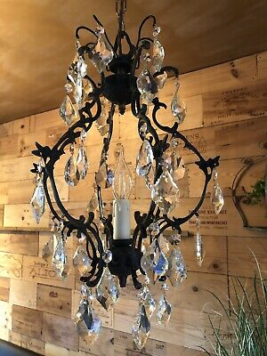 Sweetest Victorian French Pumpkin Crystal Chandelier, Lighting, Ornate, Rococo,