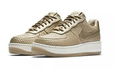 the latest 27c23 36dca Nike Air Force 1 Upstep Premium Gold Sneakers   Limited Edition