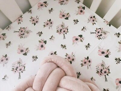 Lucinda Pink Floral COT FITTED SHEET
