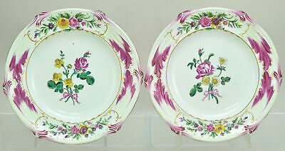 Antique Gien Pair of French Faience Floral Plates 19th Century