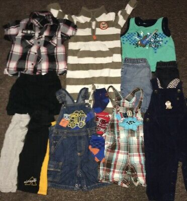 Lot Of 17 Clothes Baby Boy 12 months & 18 Months Romper ,shorts,Shirts,socks