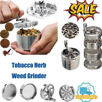 Large Stainless Spice Tobacco Herb Weed Grinder-4 Layers Crusher 55MM Silver US