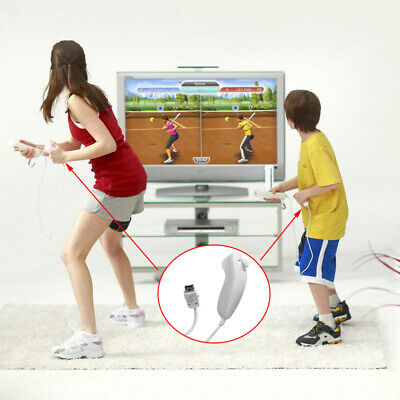 Nunchuck Nunchuk Controller Video Game For Wii Remote AU White & Black