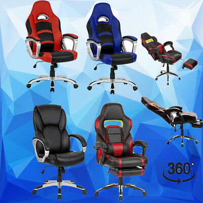 Leather Office Chair Seat Executive Racing Gaming Executive Computer w/ Padded