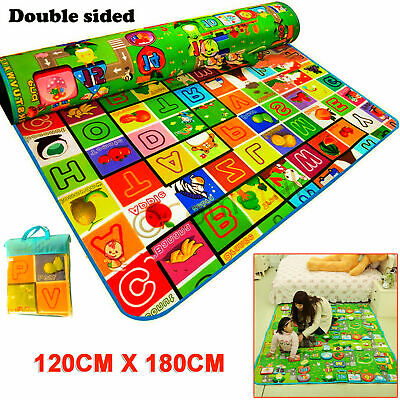 2 Side Baby Mat Kids Crawling Educational Play Soft Foam Baby Carpet 120X180Cm