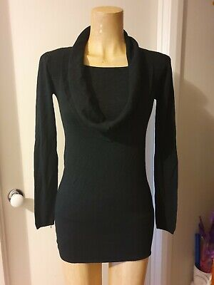 Tightrope Black Fine Knit Tunic Top With  Cowl Neck. Supersoft. Size 12. Nwot